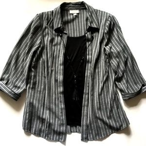 *3/$30* Dress Barn Striped Blouse w/Necklace 14/16